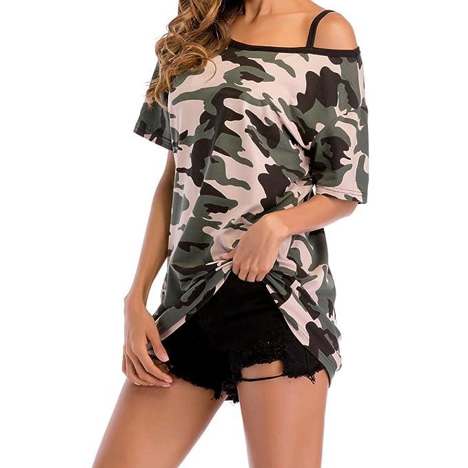 1a222ded76dc Bekleidung Longra❤ ❤ Damen T Shirt Schulterfrei Shirts One Shoulder-Tops  Damen