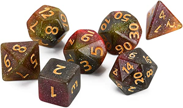 FLASHOWL Juego de Dados de camaleón D&D Vía Láctea Juego de Dados DND Dice Starry Sky Dice Dungeons and Dragons Dice MTG, RPG Dices Set 7 Piezas: Amazon.es: Juguetes y juegos