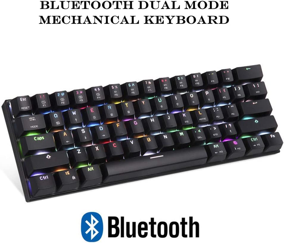 61-Key Two-Color Keycap Technology Etc. Support Win//iOS//Mac//Andriod Built-in 1300mha Large-Capacity Battery GWX Bluetooth Wired Mechanical Keyboard