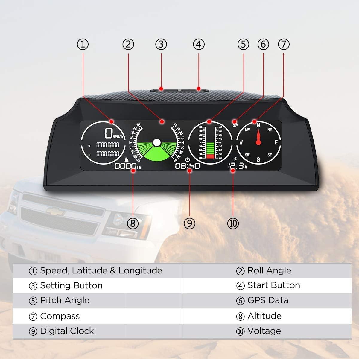 Autool X90 Gps Neigungsmesser Digital Auto Kfz Pkw Gps Tachometer Hud Mph Mit Kompass Auto Winkelsteigung Meter Für Suv Van Geländewagen Auto