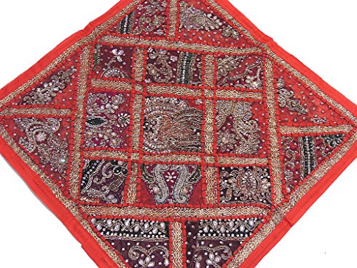 Red Kundan Bead Work Euro Pillow Sham - Beautiful Sari Patchwork Tapestry Floor Cushion Cover ~ 26 Inch X 26 -
