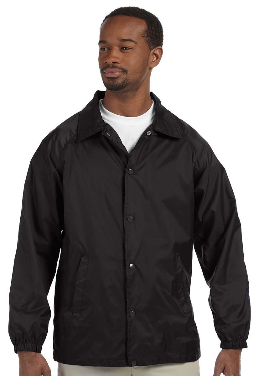 Harriton Men's Raglan Sleeves Nylon Staff Jacket Black Medium