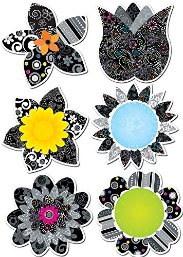 Creative Teaching Press 6-Inch Designer Cut-Outs, BW Flowers (Seasonal Cut Flowers)