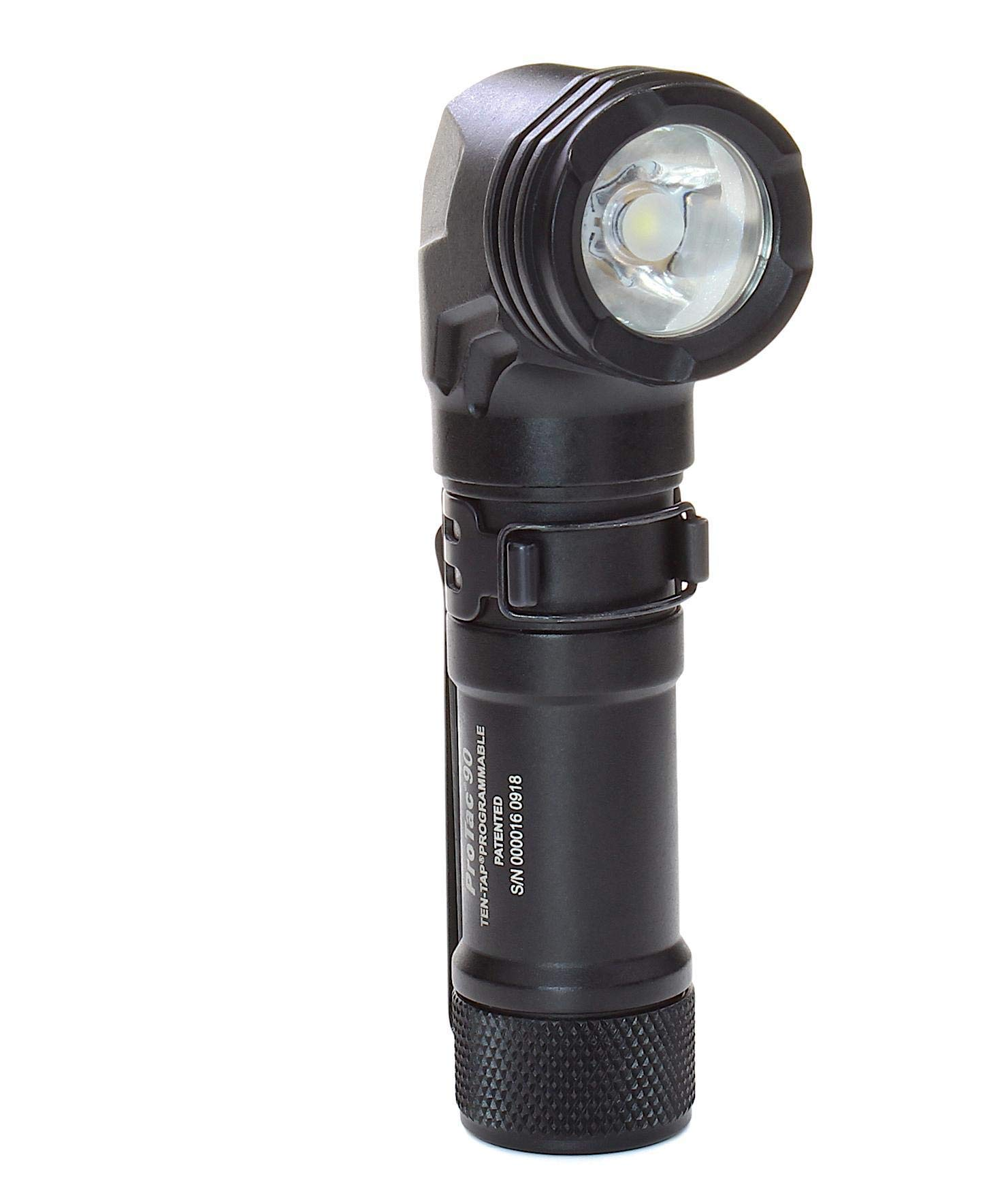 Streamlight 88087 ProTac 90 Right-Angle Light with CR123A Lithium Battery and AA Alkaline Battery - Clam - Black- 300 Lumens