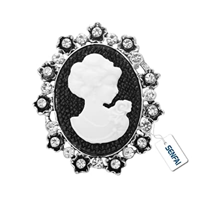 SenFai Vintage Brooches Silver Gold Cameo Brooch Luxurious Palace Queen  Brooch (1) f69137d4e0e0