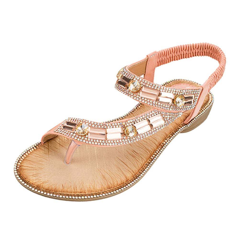 Mysky Fashion Women Summer Bohemian Casual Crystal Clip Toe Elastic Band Sandals Pink