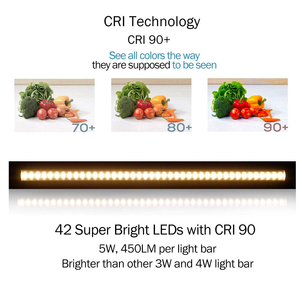 Ultra Thin LED Under Cabinet/Counter Kitchen Lighting Plug-In, Touch Dimmable 2 Coin Thickness LED Light with 42 LEDs, Easy Installation Warm White 12V/2A 5W/450LM CRI90, 3 Pack, All in One Kit by LEDLightsWorld (Image #3)