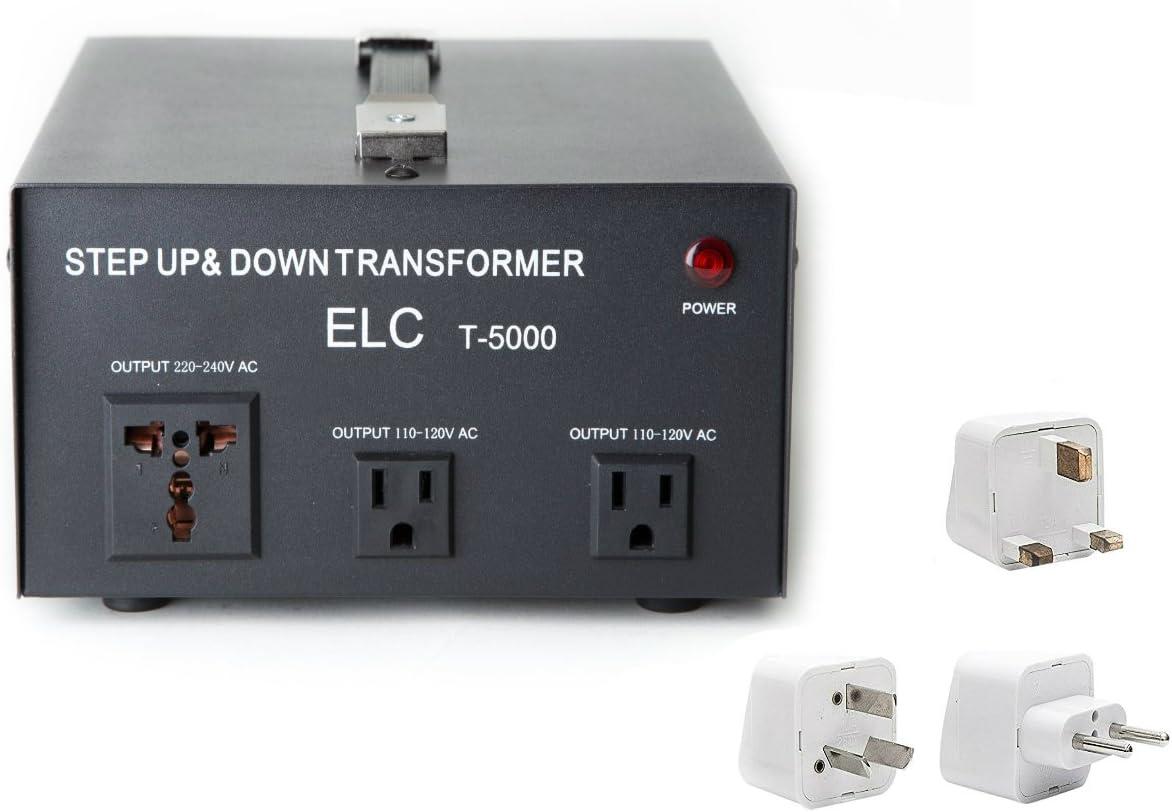 5000 W Voltaje Convertidor Transformador de Energía Mejor Internacional – Step Up/Down – 110 V/220 V – con Todo el Mundo UK/US/AU/UE Adaptador de Enchufe Europea – 3 Salidas: Amazon.es: Electrónica