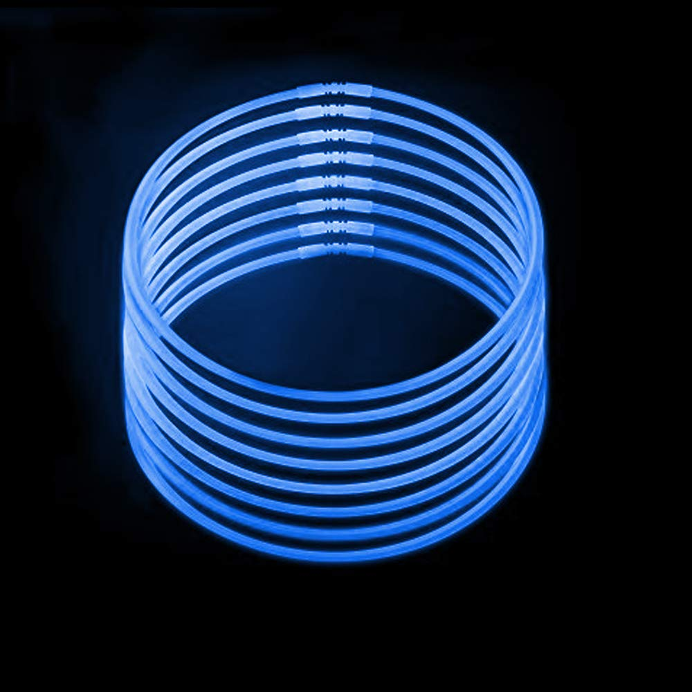 Lumistick Premium 22 Inch Glow Stick Necklaces with Connectors | Kid Safe Non-Toxic Glowstick Necklaces Party Pack | Available in Bulk and Color Varieties | Lasts 12 Hours (Blue, 600) by Lumistick (Image #2)