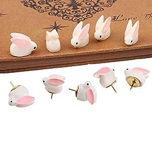 Extpro Set of 10 Cute 3D Cartoon Rabbit Decorative Pushpins, Photo, Map Thumbtacks Office Supplies (Rabbit)