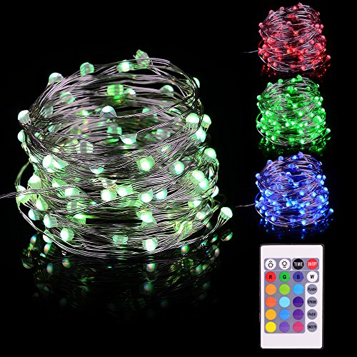 LED Fairy Lights 33ft 100 LEDs Battery Operated String Lights Waterproof Multi Color Changing, Firefly Lights with Remote Control for Indoor,Outdoor,Bedroom,Patio,Wedding,Party Christmas Decorations by Omika (Image #1)