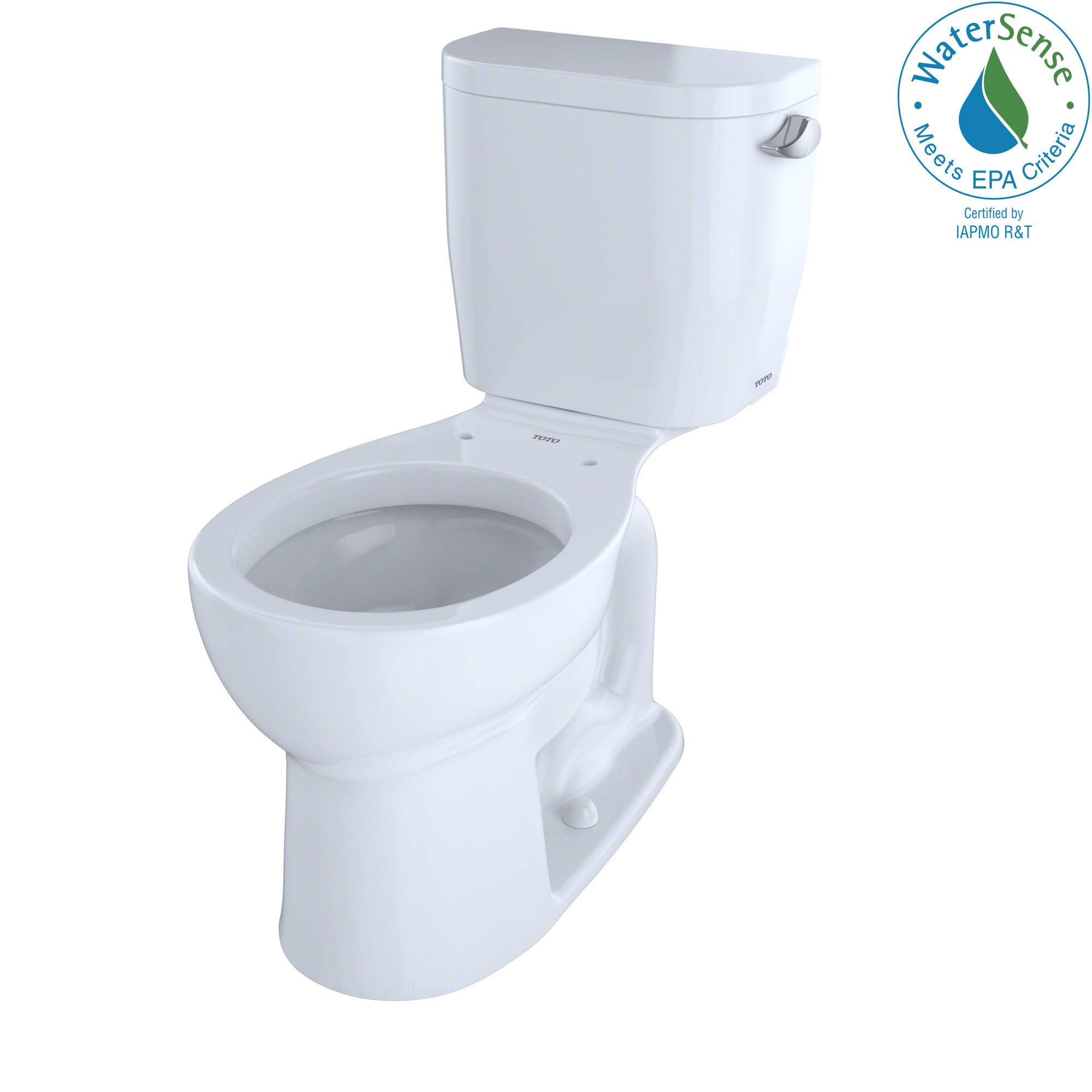 TOTO CST243EFR#01 Entrada Two-Piece Round 1.28 GPF Universal Height Toilet with Right-Hand Trip Lever, Cotton White by TOTO