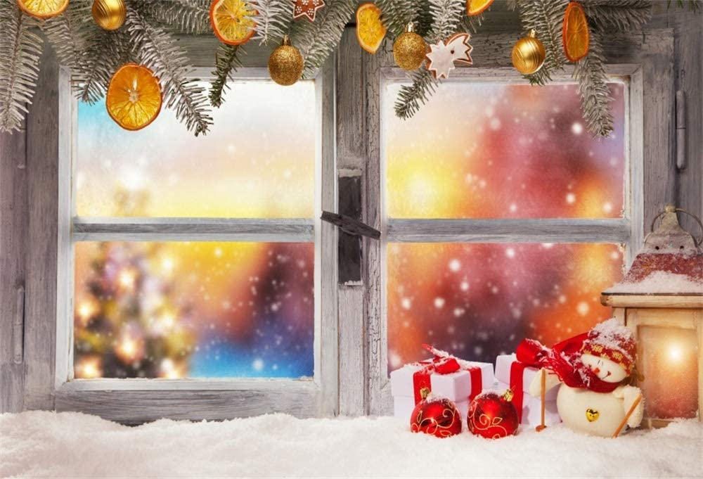 AOFOTO 10x8ft Christmas Window Background Winter Night House Interior Fir Tree Branches Lantern Gifts on Window Sill Background for Photography Family Kids Girl Portrait Photo Studio Props Vinyl