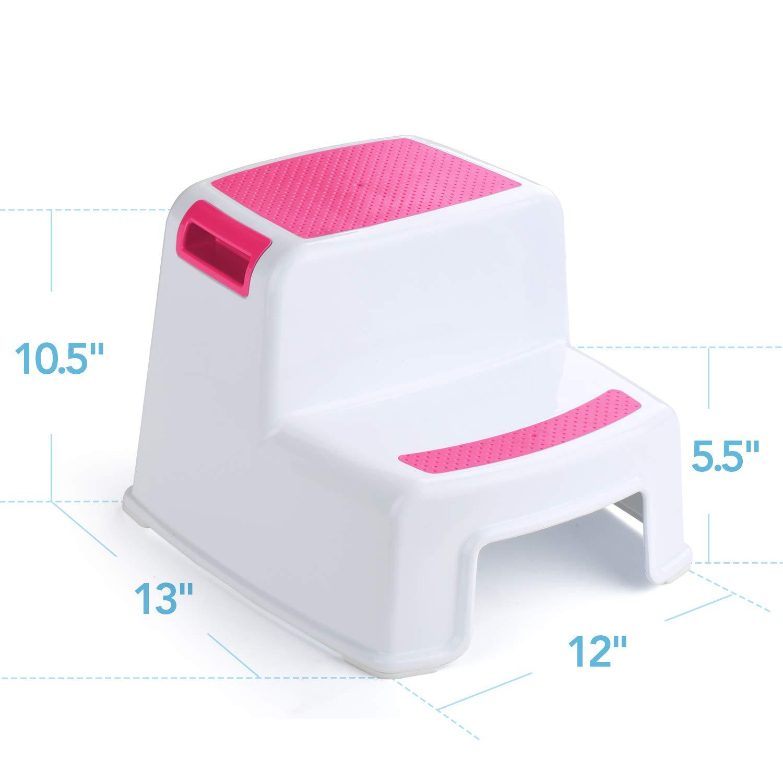 Acko 2 Step Stool für Kids -Toddler Stool mit Slip Resistant Soft Grip für Safety wie Bathroom Toilet Potty Training Stool und Kitchen Stepping Stool Dual Height & Wide zwei Step Pink