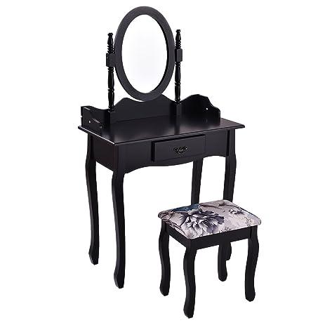 Giantex Black Bathroom Vanity Wood Makeup Dressing Table Stool Set Jewelry  Desk W/ Drawer U0026Mirror