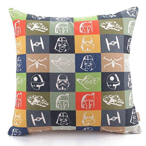 HT&PJ Dekorativ Baumwolle Leinen Mischung Sofa Kissenbezug Star Wars Gitter Muster 45cmx45cm
