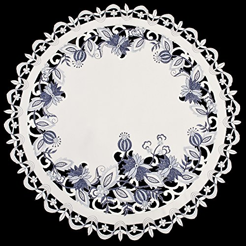 (Linens, Art and Things Embroidered Delft Blue Onion Flower Small Table Topper Table Centerpiece Doily 23