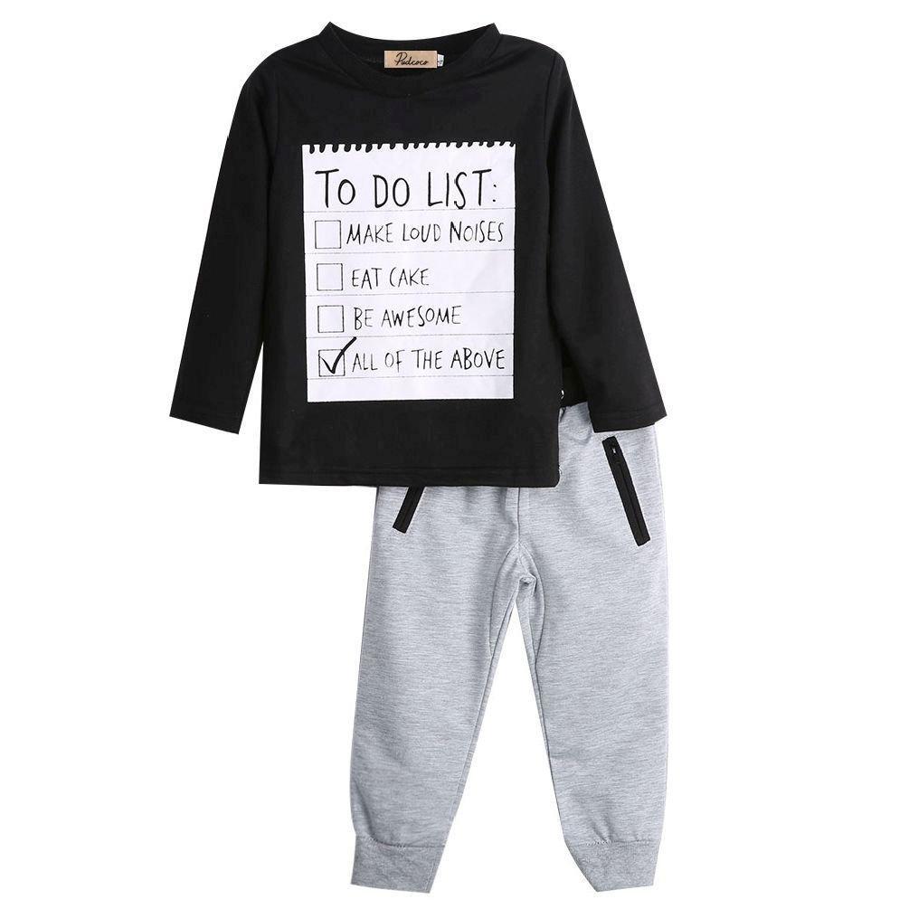 2PCS Toddler Kids Boy Clothes Long Sleeve Letter Print Cotton T-shirt Tops+Long Pant Outfits Autumn Clothing Set Unbrand