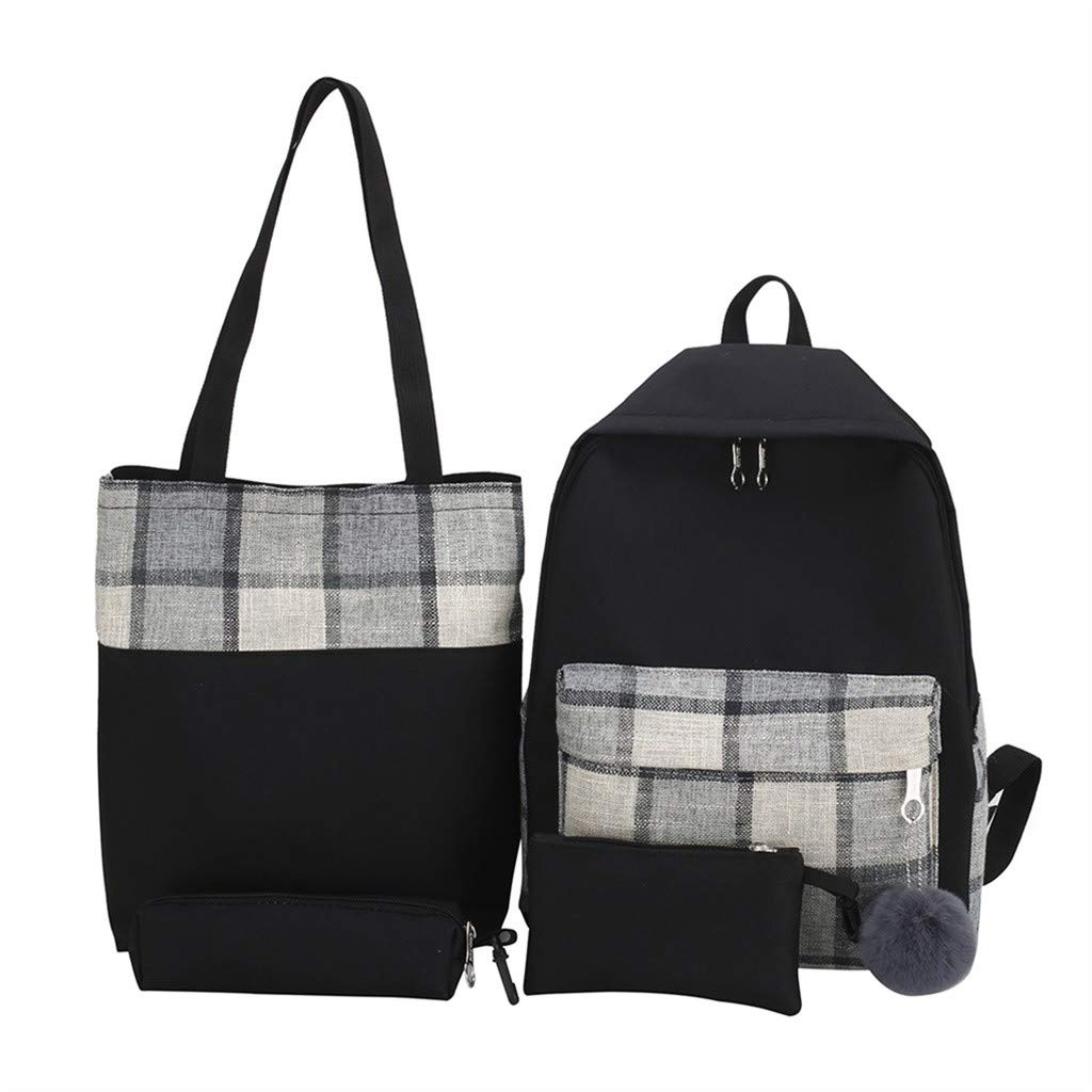 Tronet Casual Daypack for Travel, 4Pcs Women Plaid Canvas Hand Bag Shoulder Bag Cosmetic Bag Pencil Case Package