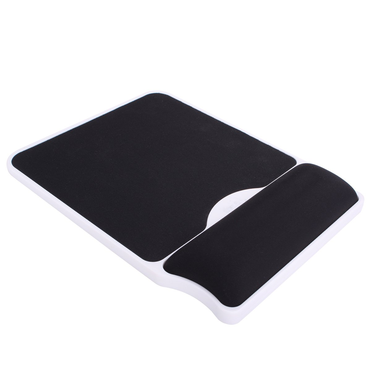Mouse Pad with Gel Wrist Rest Support - Mousepad with Memory Foam Non-Slip ABS Base Wrist Rest Support for Gaming Typist Office (Black 2)
