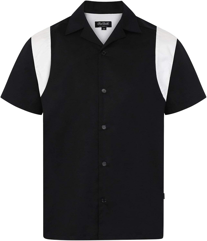 Chet Rock Marty Hombre Estilo Retro Bowling Camisa - Negro, S: Amazon.es: Ropa y accesorios