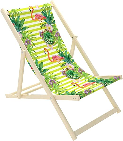 Novamat – Tumbona de jardín de madera, plegable, tumbona para relajarse, silla para la playa, Hojas verdes.: Amazon.es: Hogar