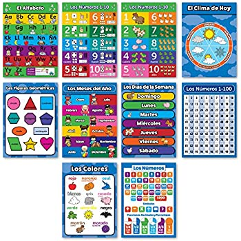 10 Spanish Educational Posters For Toddlers - ABC - Alphabet, Numbers 1-10, Shapes, Colors, Days of the Week, Months of the Year - Español Alfabeto ...