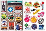 Vooseyhome 2X World Famous Tourism Country & Regions Logo Luggage Skateboard Laptop Car Sticker