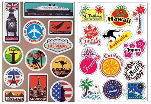 VOOSEYHOME 2X World Famous Tourism Country & Regions Logo Waterproof Stickers, for Luggage Skateboard Laptop Luggage Suitcase Book Covers etc