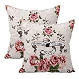 Queenie® - 2 Pc of Cushion Cover Decorative Throw Pillow Case Tapestry Polyester Pillowcase 18 X 18 Inch 45 X 45 Cm, Set of 2 (Roses Angels)