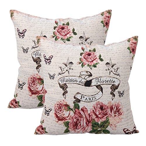 Queenie® - 2 Pc of Cushion Cover Decorative Throw Pillow Case Tapestry Polyester Pillowcase 18 X 18 Inch 45 X 45 Cm, Set of 2 (Roses Angels) (Tapestry Angels Two)