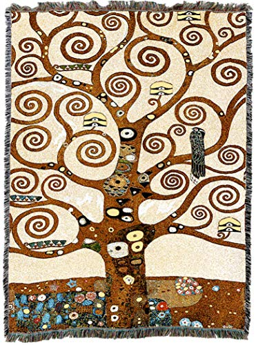 (Pure Country Weavers | Stoclet Frieze Tree of Life Tapestry Gustav Klimt Throw Blanket and Wall Hanging with Fringe Cotton USA 72x54)