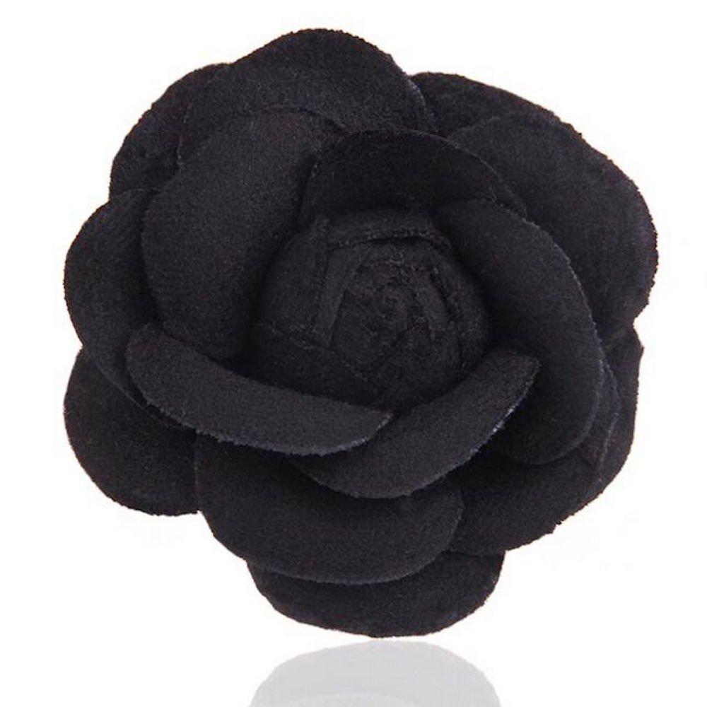 MISASHA Celebrity Designer Fabric Tweed Camellia Black Flower Pin Brooch Fashion Jewelry