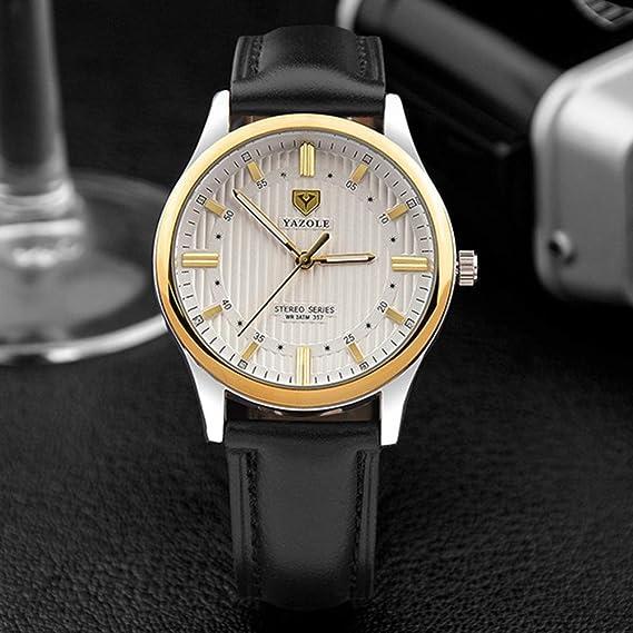 peanutcool macho relojes de pulsera de cuarzo correa de piel reloj yazole 357 Hombres de negocio