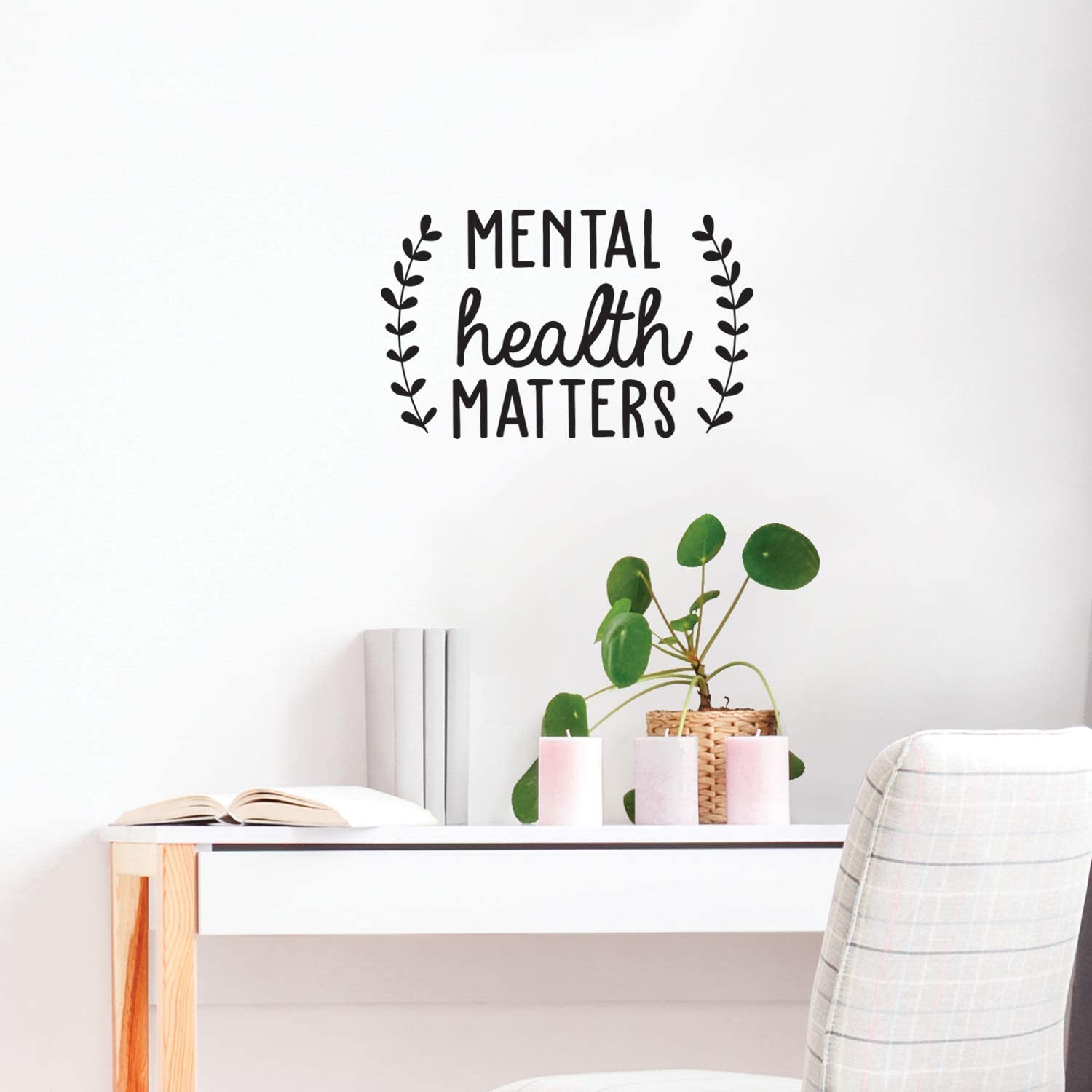 "Vinyl Wall Art Decal - Mental Health Matters - 15.5"" x 25"" - Modern Inspirational Quote Sticker for Home Bedroom Living Room Apartment Work Office Decor (Black)"