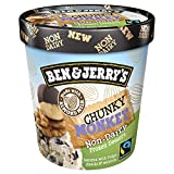 Ben & Jerry's - Non-Dairy Frozen Dessert, Non-GMO - Fairtrade - 100% Certified Vegan - Made with Almond Milk - Responsibly Sourced Packaging, Chunky Monkey, Pint (4 Count)