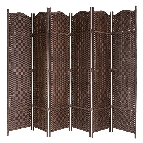 - MyGift Freestanding Bamboo Woven Textured 6-Panel Room Divider Folding Privacy Screen, Dark Brown