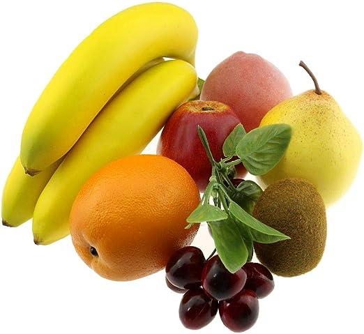 Gresorth Artificiel Fruit Faux Pomme Banane Orange Citron p/êche Grain de Raisin Kiwi D/écoration