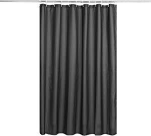 Shower Curtain Liner, Durable Fabric Solid Blue Bathroom Shower Curtains with Hooks, Weigthed Hem, Waterproof 72 by 72 Inches with 12 Hooks Black