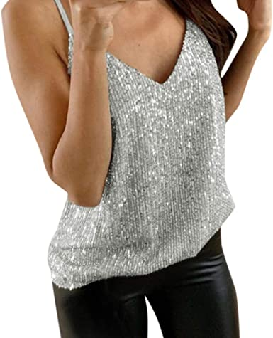Lotus.Flower - Camiseta de Tirantes con Purpurina para Mujer - Plateado - XX-Large