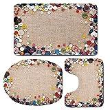 3 Piece Bath Mat Rug Set,Vintage,Bathroom Non-Slip Floor Mat,Buttons-Collection-Fabric-Texture-Canvas-Frame-Sewing-Needlecraft-Contemporary-Picture,Pedestal Rug + Lid Toilet Cover + Bath Mat,Light-Bro