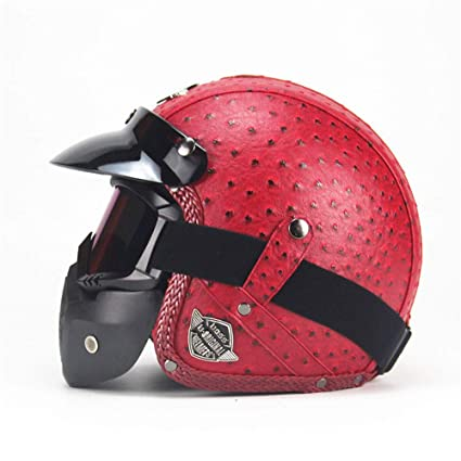 Careta de Motocicleta de Cara Abierta, Casco de Jet Road Legal # 01 Piel de