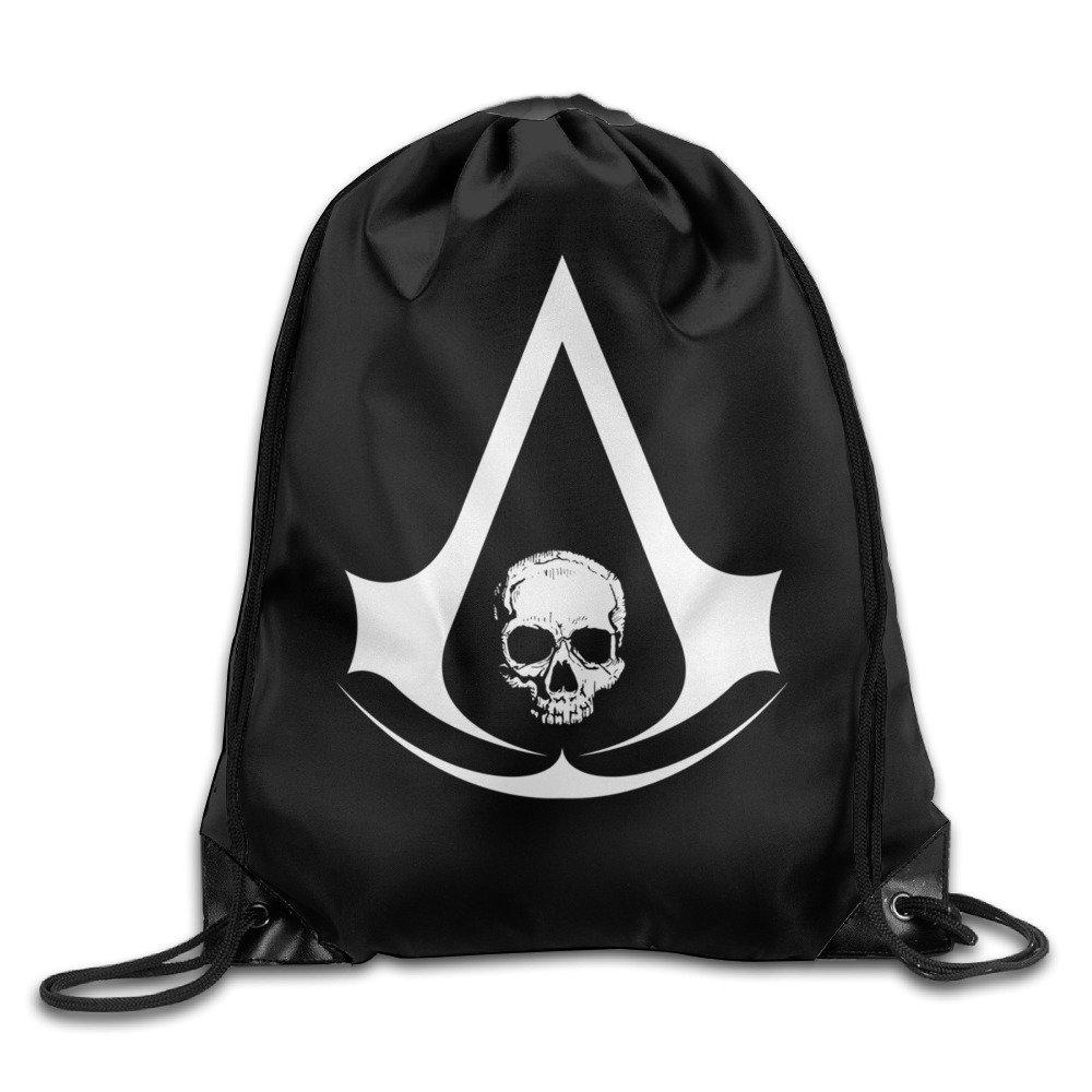 UOJOJONG Assassin S Creed Black Flag Skull Logo Unisex Drawstring Bag