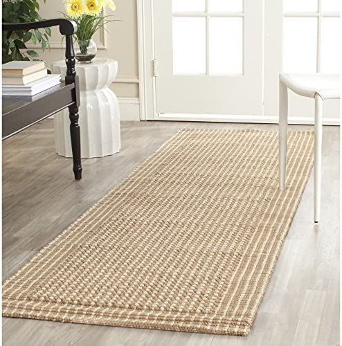 Safavieh Natural Fiber Collection NF449A St Lucia Loop Ivory and Beige Sisal Runner 2 6 x 6