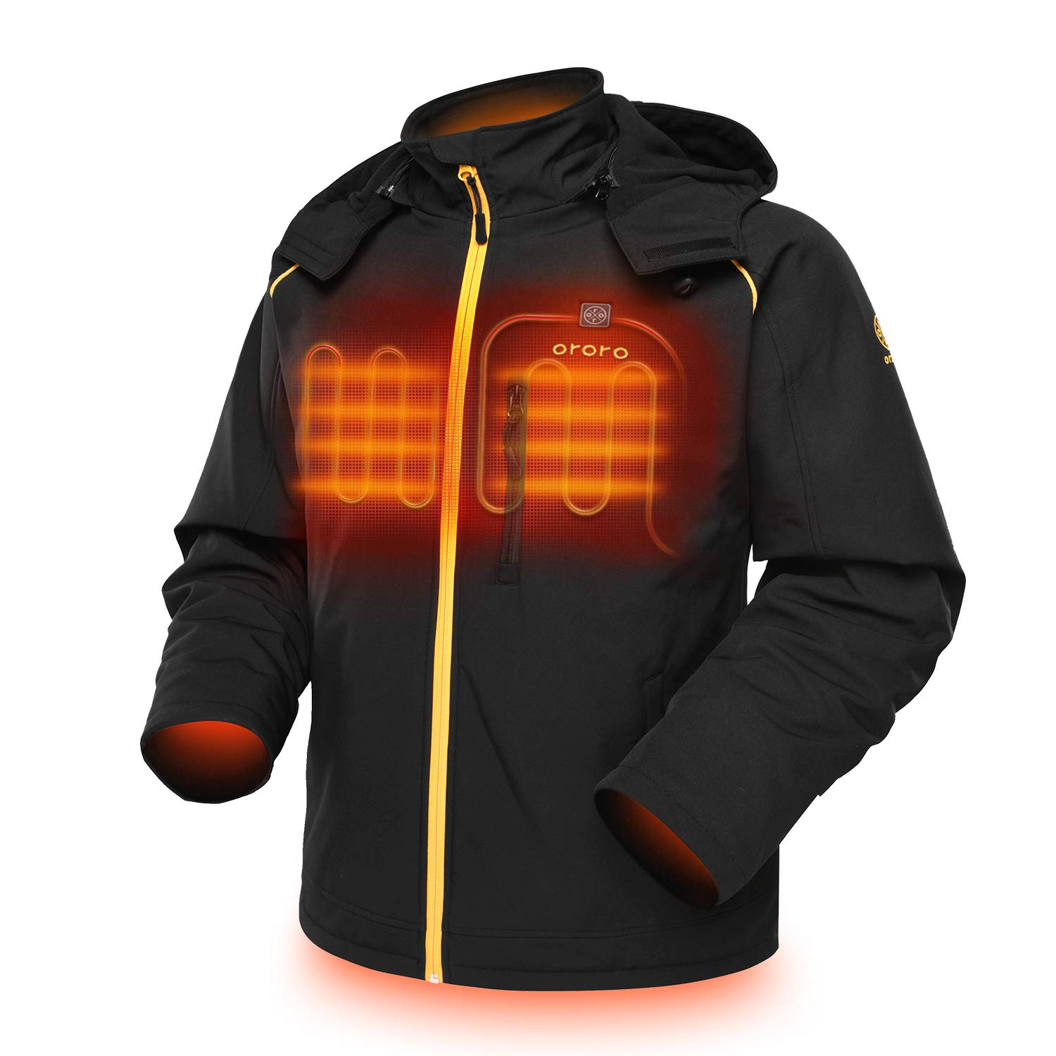 ORORO Men's Soft Shell Heated Jacket with Detachable Hood and Battery Pack (Black/Gold, XXL) by ORORO
