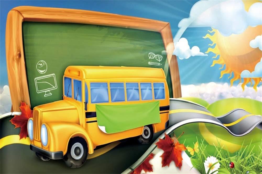 Yeele 10x8フィート ビニール Welcome Back to School 背景 写真撮影用 黄色 学校 バス 黒板 背景 子供 先生 学生 写真ブース 撮影 スタジオ小道具   B07MN6WZLZ