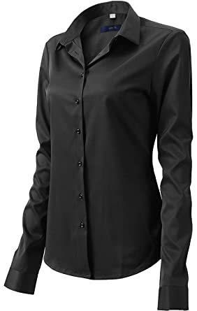 3e660bc29f37 Button Up Shirts for Women Basic Long Sleeve Simple Work Shirts Black Size 6