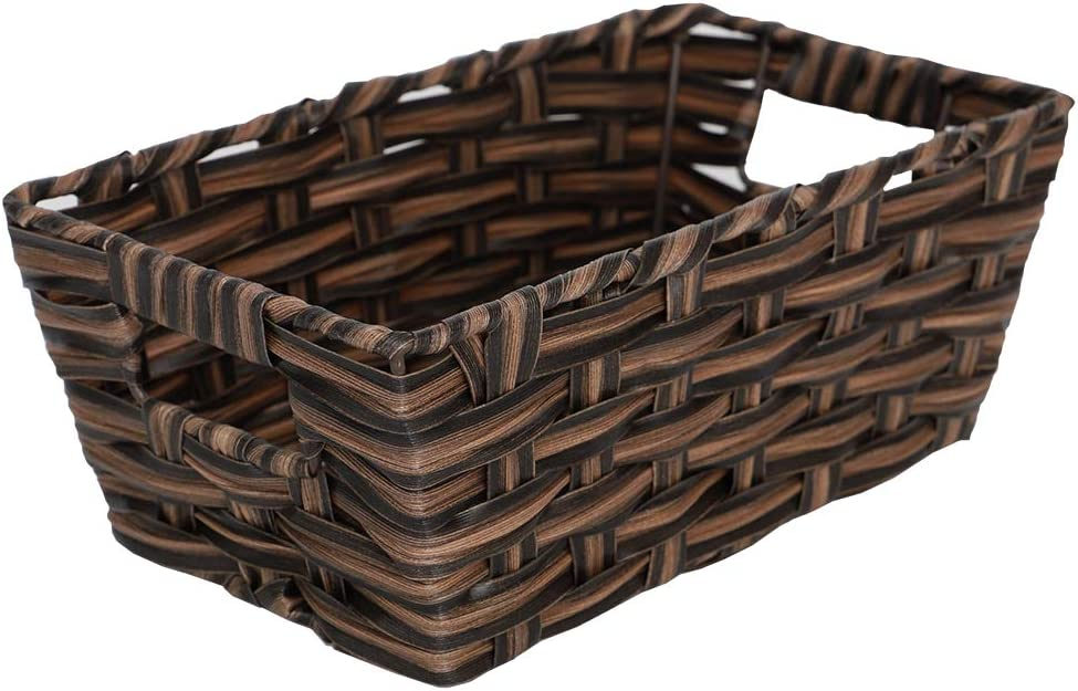 Home Basics Small Faux Rattan Basket, Taupe