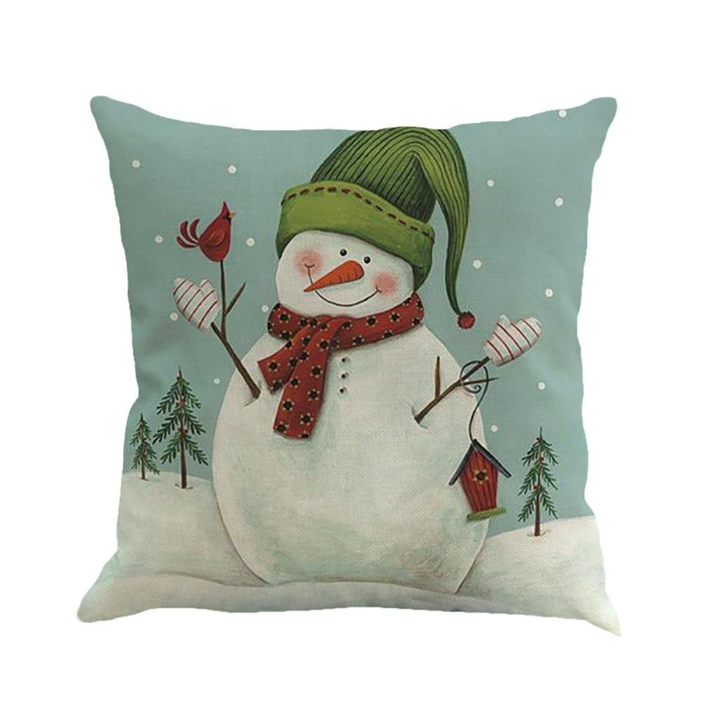 Billila Christmas Printing Dyeing Sofa Bed Home Decor Pillow Cover Cushion Cover 45cm*45cm/18*18 (A)