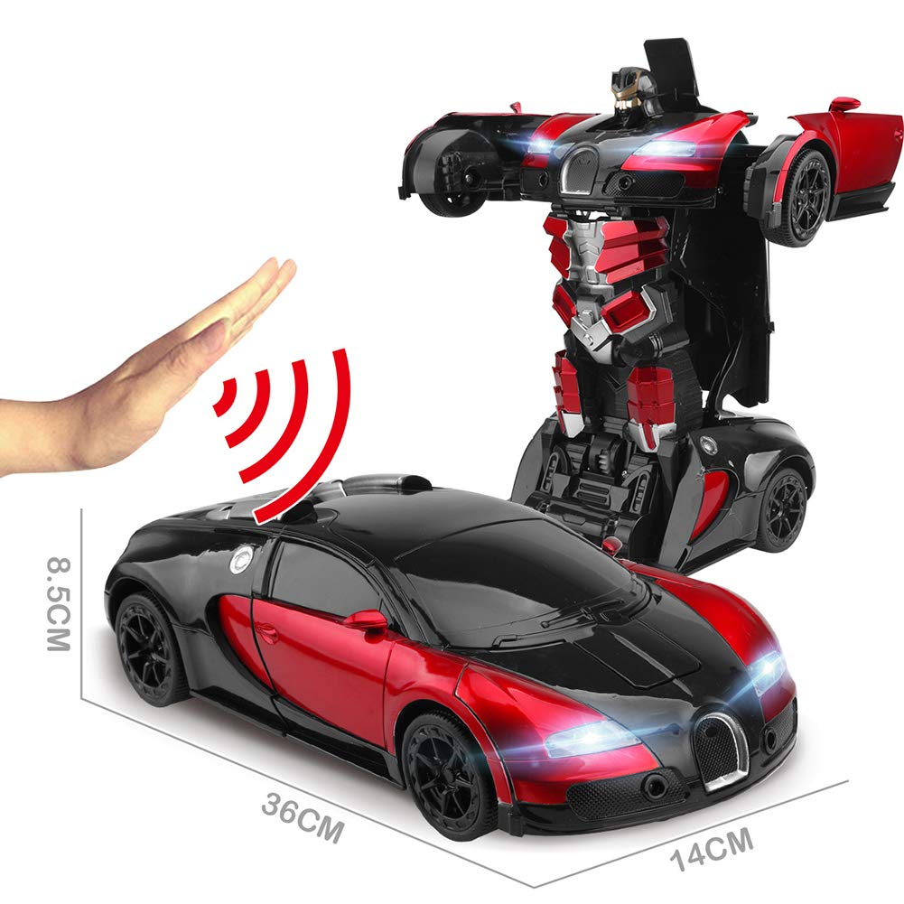 JIAAE Children Remote Control Car Gesture Sensing Transformers 1:12 Ratio Simulation Car Model Great Gift for Boys and Girls,Red by JIAAE